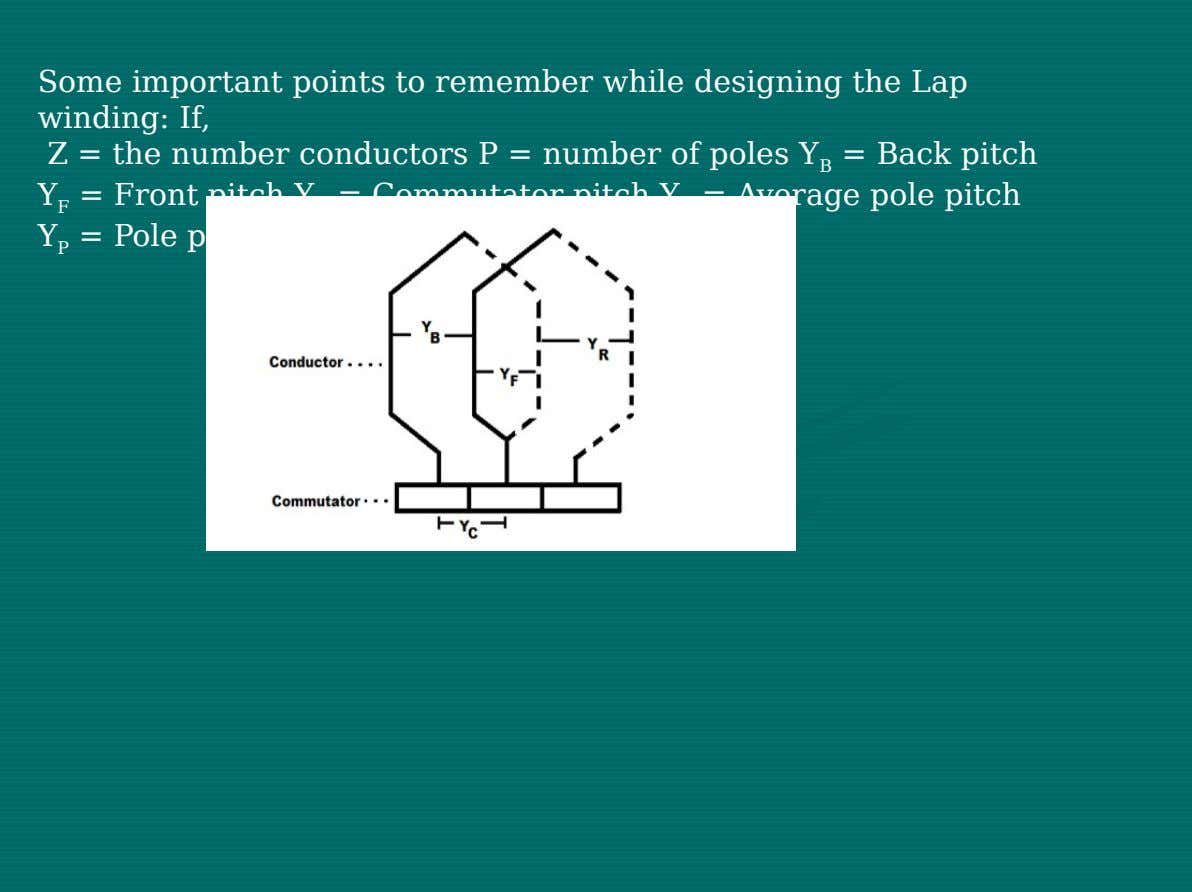 Some important points to remember while designing the Lap winding: If, Z = the number conductors