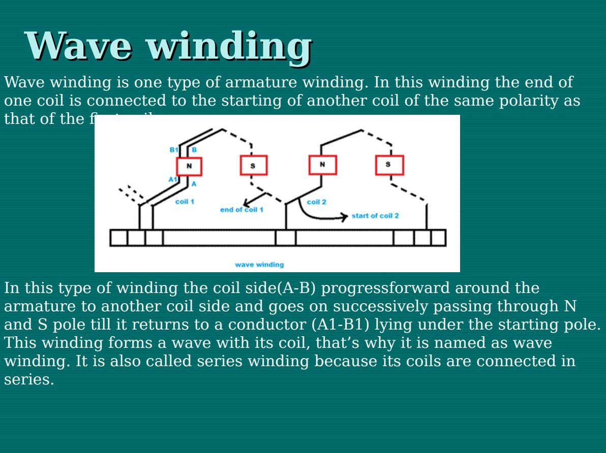 Wave Wave winding winding Wave winding is one type of armature winding. In this winding the