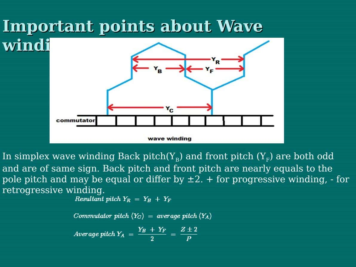Important Important points points about about Wave Wave winding winding In simplex wave winding Back pitch(Y
