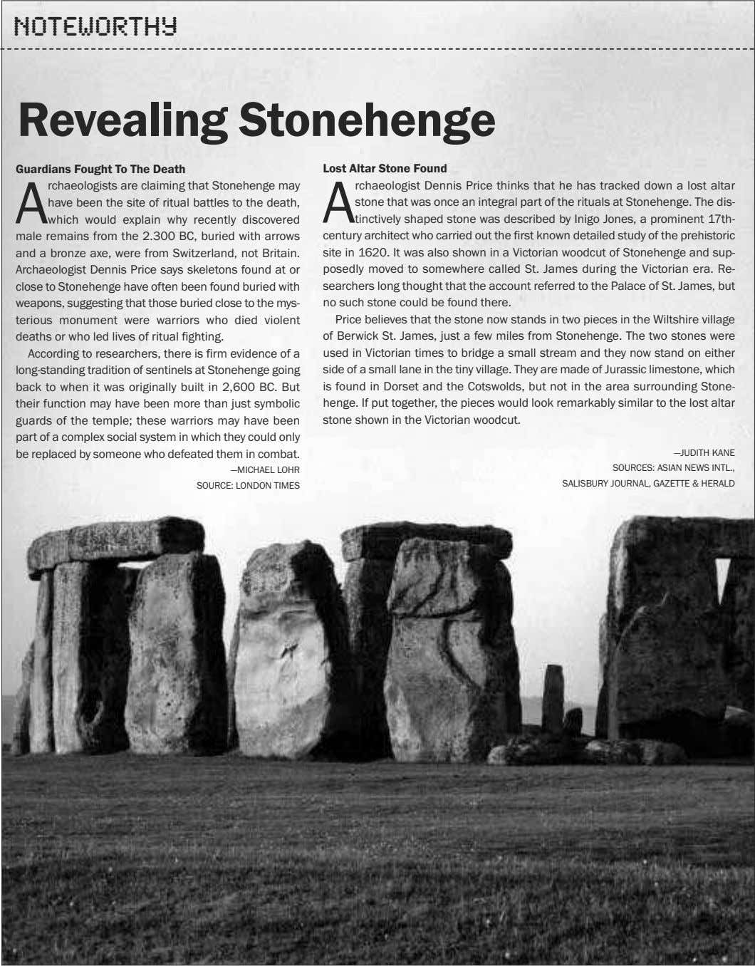 Noteworthy Revealing Stonehenge Guardians Fought To The Death Lost Altar Stone Found A rchaeologists are