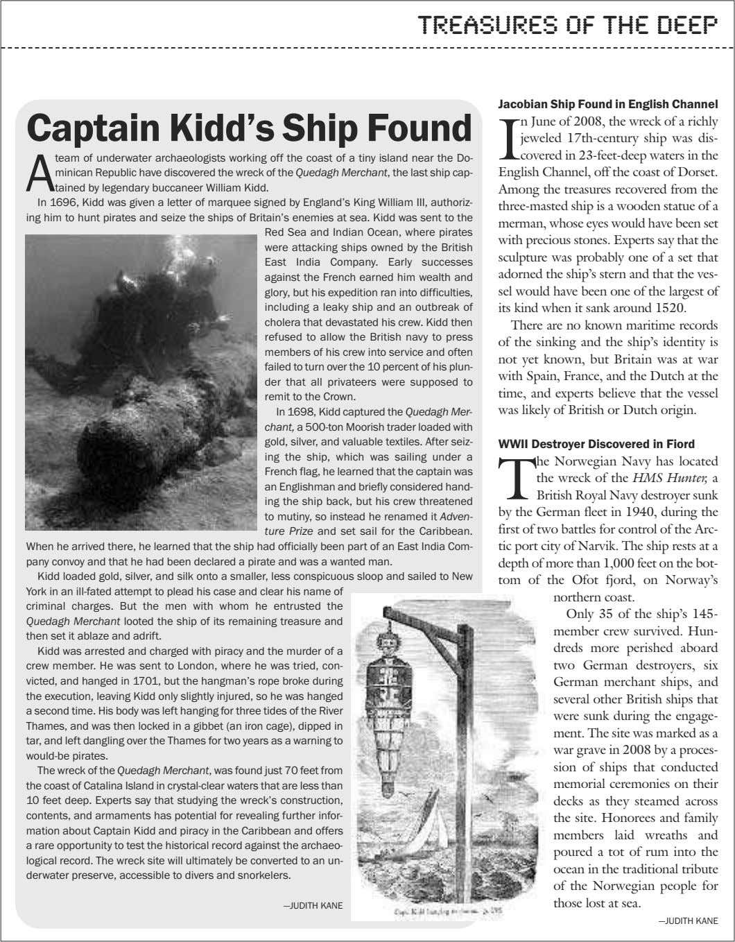 treasures of the deep Jacobian Ship Found in English Channel Captain Kidd's Ship Found I