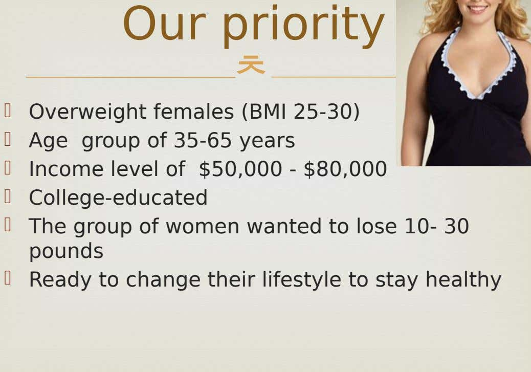 Our priority      Overweight females (BMI 25-30) Age group of 35-65 years