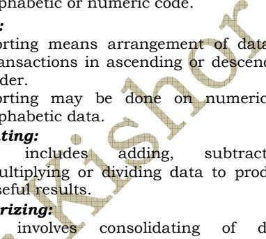 classified according to alphabetic or numeric code. ii. Sorting: Sorting means arrangement of data or
