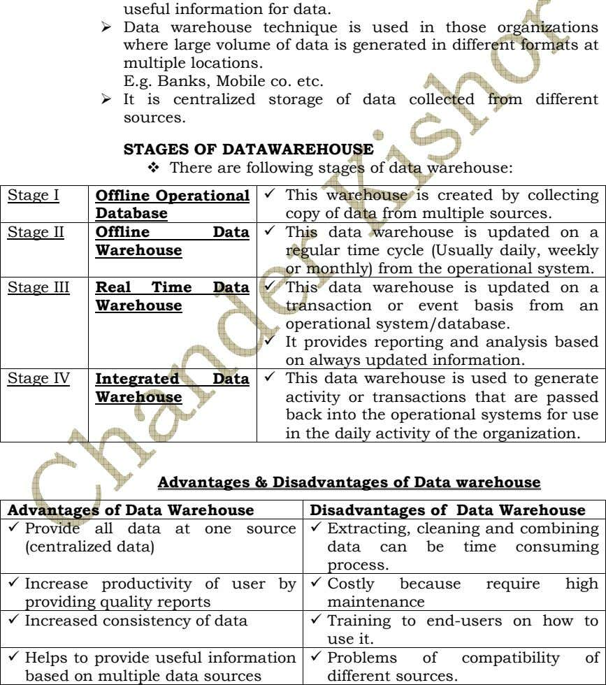 STAGES OF DATAWAREHOUSE There are following stages of data warehouse: Stage I Offline Operational Database