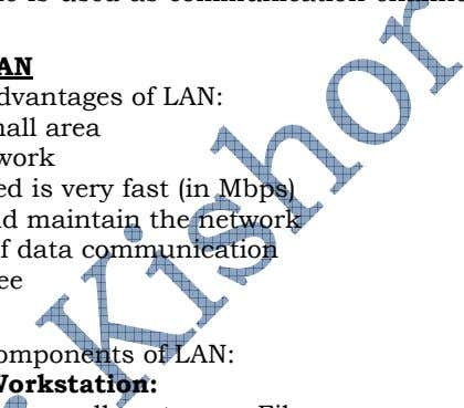 of cable i.e. cable is used as communication channel in LAN. Advantages/Benefits of LAN There are