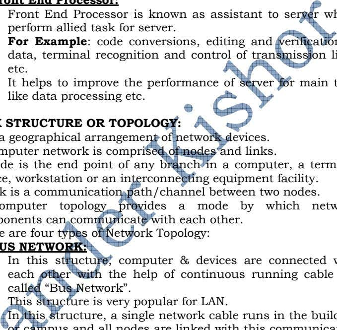 or the company's WAN or Internet. k. Front End Processor: Front End Processor is known as