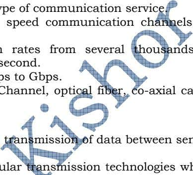 Channel, optical fiber, co-axial cable, micro-wave etc. 9. TRANSMISSION TECHNOLOGIES: It provides various options