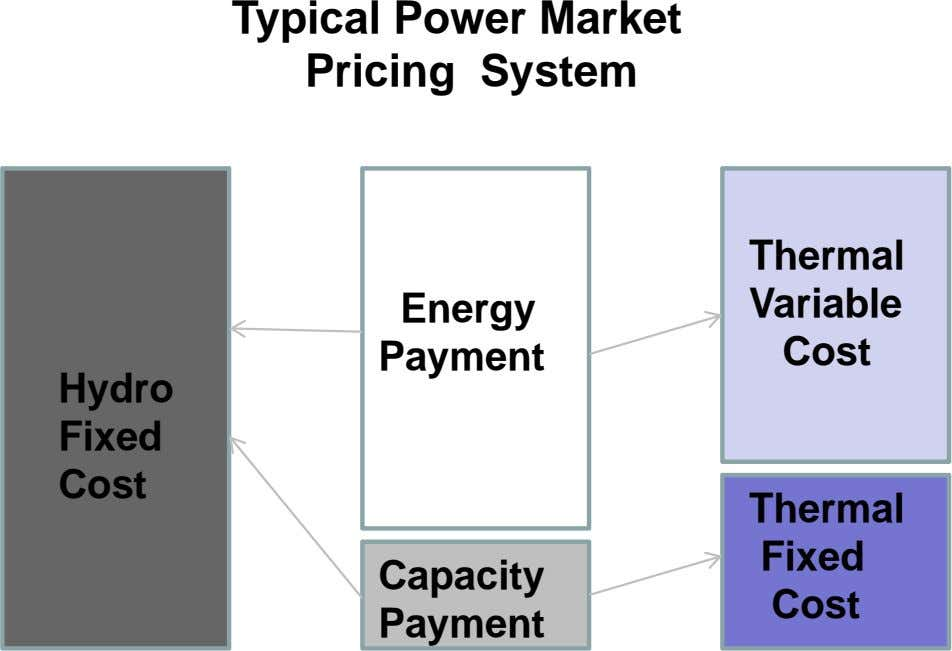 Typical Power Market Pricing System Thermal Energy Variable Payment Cost Hydro Fixed Cost Thermal Fixed