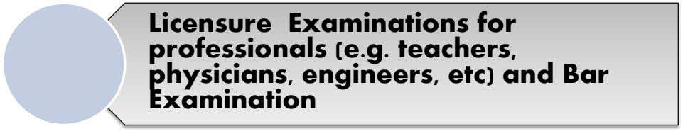 Licensure Examinations for professionals (e.g. teachers, physicians, engineers, etc) and Bar Examination