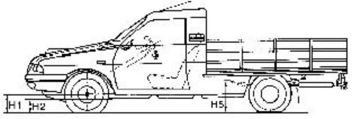 THE ADJUSTMENT OPERATIONS OF THE STEERING ANGLES. H1 – the distance measured from the wheels center