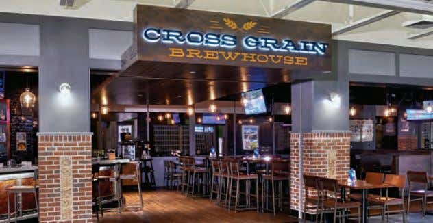 Left: Delaware North's Cross Grain Brewhouse is a proprietary brand that highlights local cuisine and