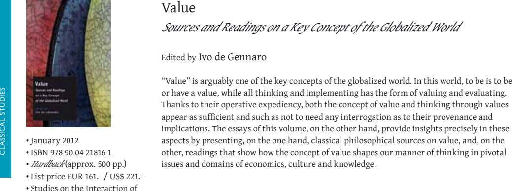 Value Sources and Readings on a Key Concept of the Globalized World Edited by Ivo