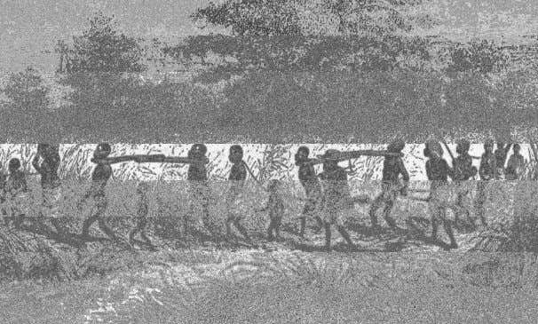relating to slavery. Shown below: African slaves in Jamaica. The roots of reggae music date back