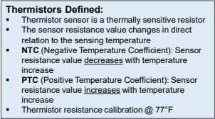Thermistors Defined:  Thermistor sensor is a thermally sensitive resistor  The sensor resistance value