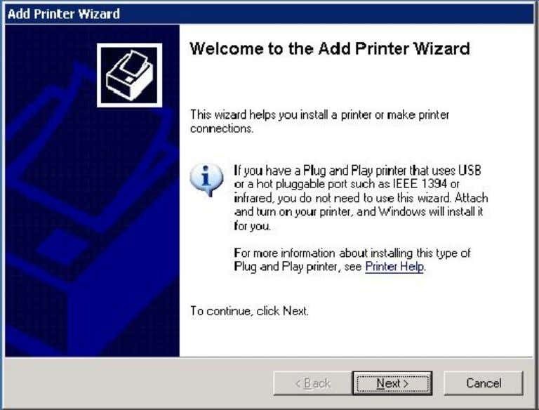 GENERIC PRINTER INSTALL Go to printer and faxes and select add printer. Next.