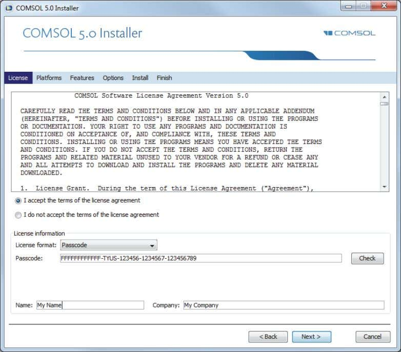 one of the four op tions, the following is displayed: After reading the license agreement, click