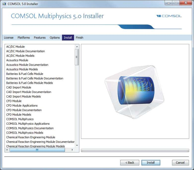 INSTALL PAGE 11 When you click Install the utility now installs or updates COMSOL. The installation
