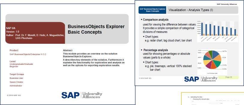 SAP Business Objects Explorer     Lecture slides teaching notes Exercises plus data source