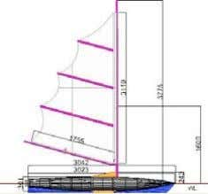 Specifications' and used throughout the calculations. Profile, above waterline. Side view with hull dimensions.