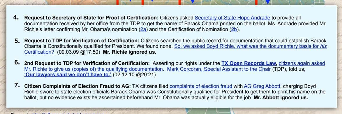 4. Request to Secretary of State for Proof of Certification: Citizens asked Secretary of State