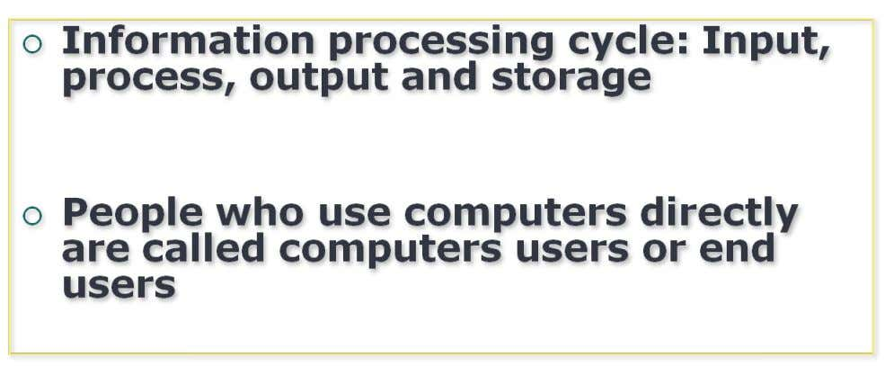 Information processing cycle is comprised of four basic operations January 11, 2012 5