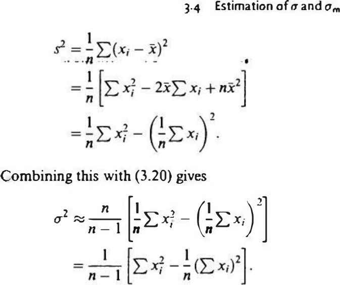 "3.4 Estimation of (1 and 0,"" Combining this with (3.20) gives "" [� 2:: x' -"