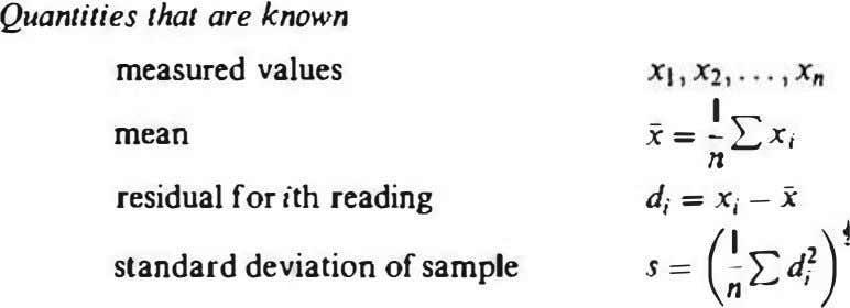 Quantities that are known measured values x = ;;LX/ - I mean residual for ith reading