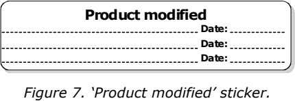 Product modified Date: Date: Date: Figure 7. 'Product modified' sticker.