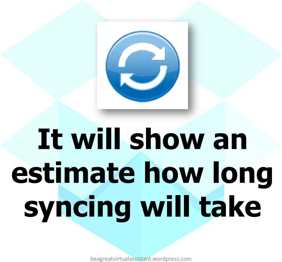 It will show an estimate how long syncing will take beagreatvirtualassistant.wordpress.com