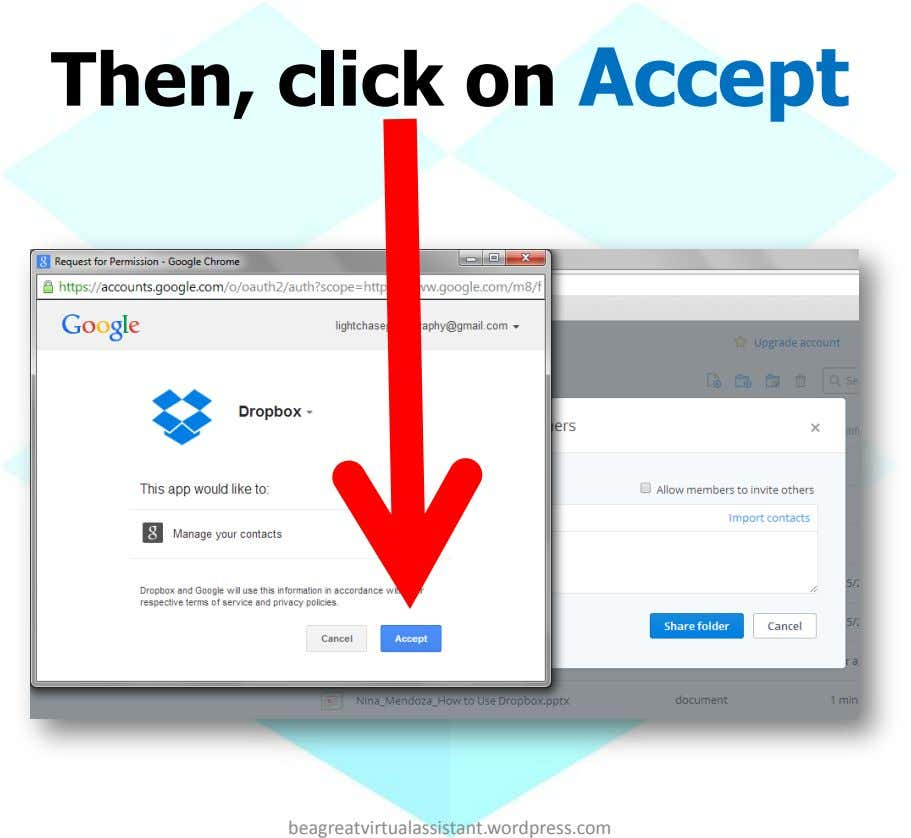 Then, click on Accept beagreatvirtualassistant.wordpress.com