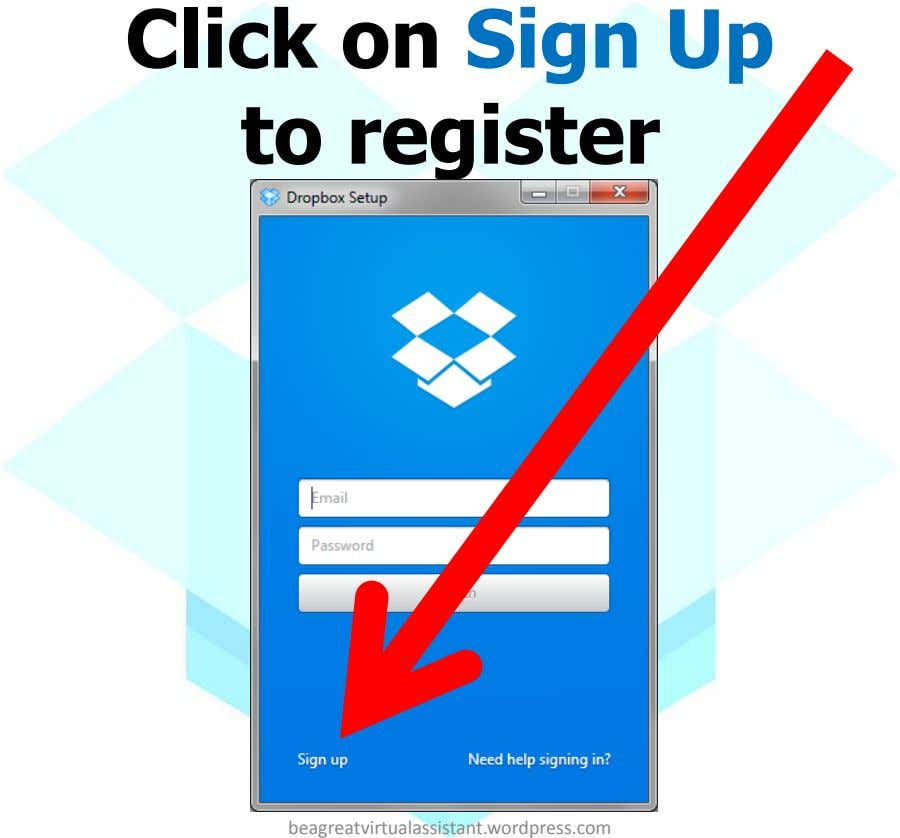 Click on Sign Up to register beagreatvirtualassistant.wordpress.com