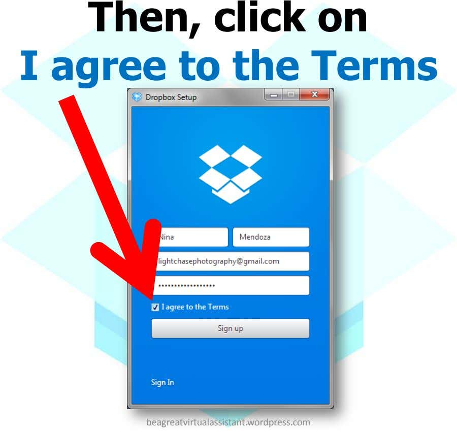 Then, click on I agree to the Terms beagreatvirtualassistant.wordpress.com