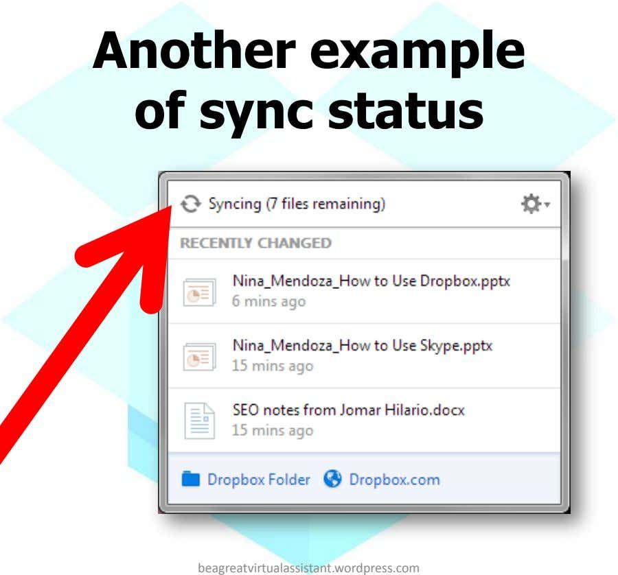 Another example of sync status beagreatvirtualassistant.wordpress.com