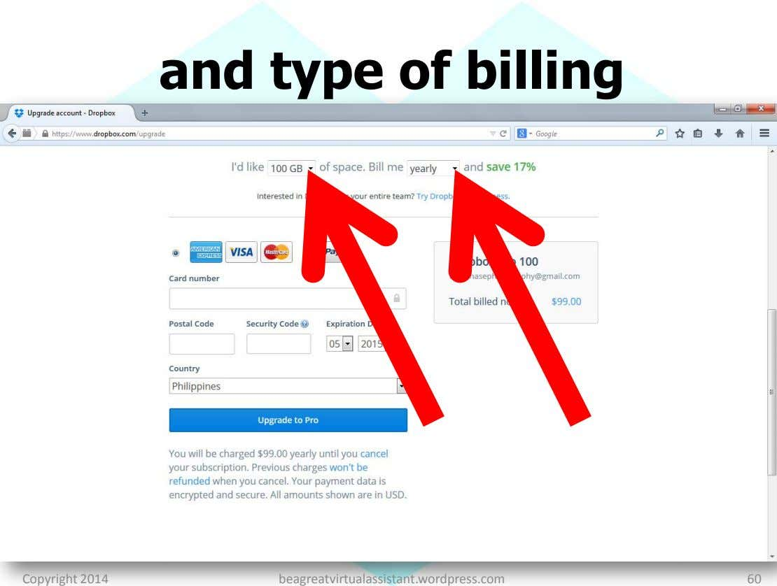 and type of billing Copyright 2014 beagreatvirtualassistant.wordpress.com 60