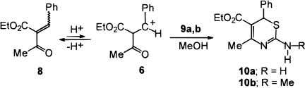 2-amino-1,3-thiazines 10a , b in excellent yields. The structures of thiazines 10 were established by