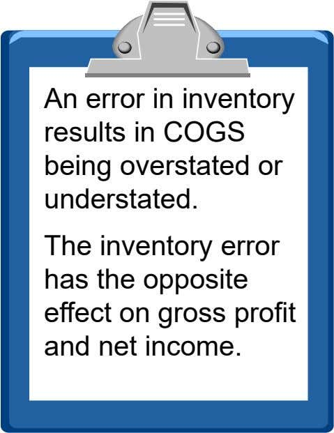 An error in inventory results in COGS being overstated or understated. The inventory error has