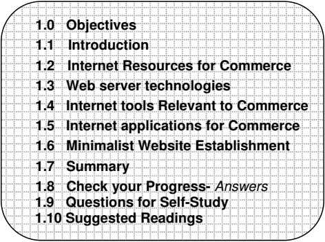 1.0 Objectives 1.1 Introduction 1.2 Internet Resources for Commerce 1.3 Web server technologies 1.4 Internet