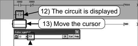 12) The circuit is displayed 13) Move the cursor