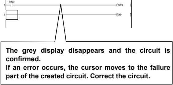 The grey display disappears and the circuit is confirmed. If an error occurs, the cursor