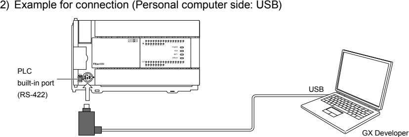 2) Example for connection (Personal computer side: USB) PLC built-in port USB (RS-422) GX Developer