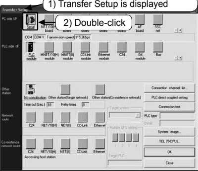 1) Transfer Setup is displayed 2) Double-click