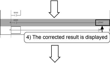 4) The corrected result is displayed