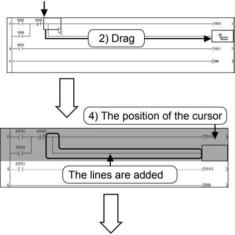2) Drag 4) The position of the cursor The lines are added