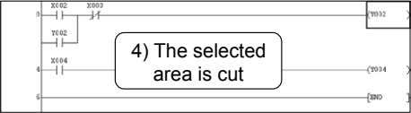 4) The selected area is cut