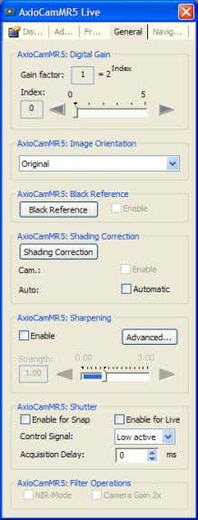 Black Reference Click on the General tab on the camera control panel. Your image can be