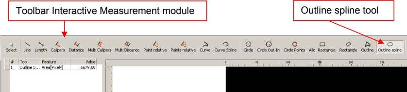 Toolbar Interactive Measurement module Outline spline tool