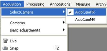 you are using. In the Acquisition menu select the camera. The AxioCam camera range are very