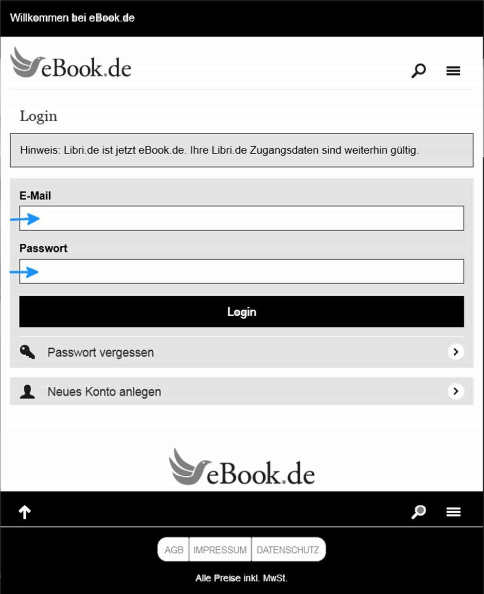eBook.de READERSHOP-Login