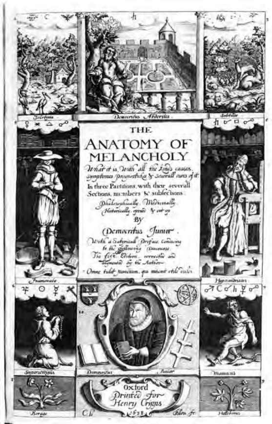 Fig. 4 . Robert Burton, Title Page , 1621 , engraving. From Anatomy of Melancholy