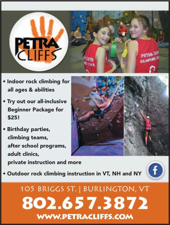 • Indoor rock climbing for all ages & abilities • Try out our all-inclusive Beginner